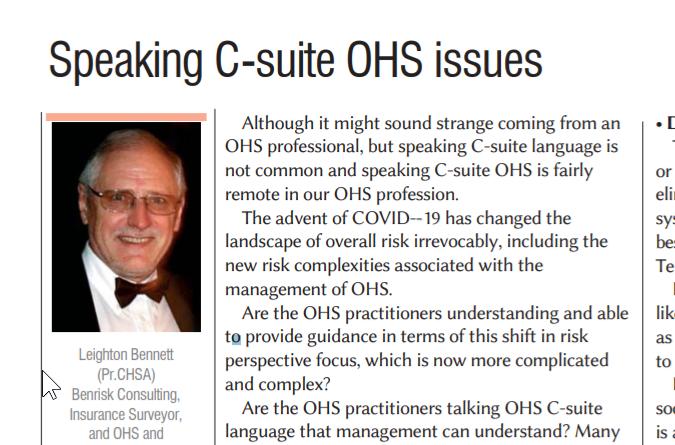 Speaking C-suite OHS issues