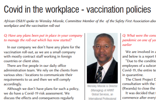 Developing Covid vaccination policies in the workplace